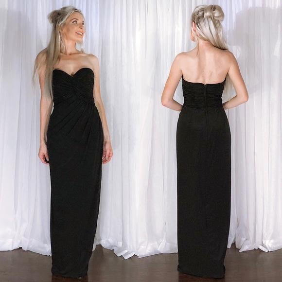 Victor Costa Dresses | Strapless Elegant Classy Black Evening Gown ...